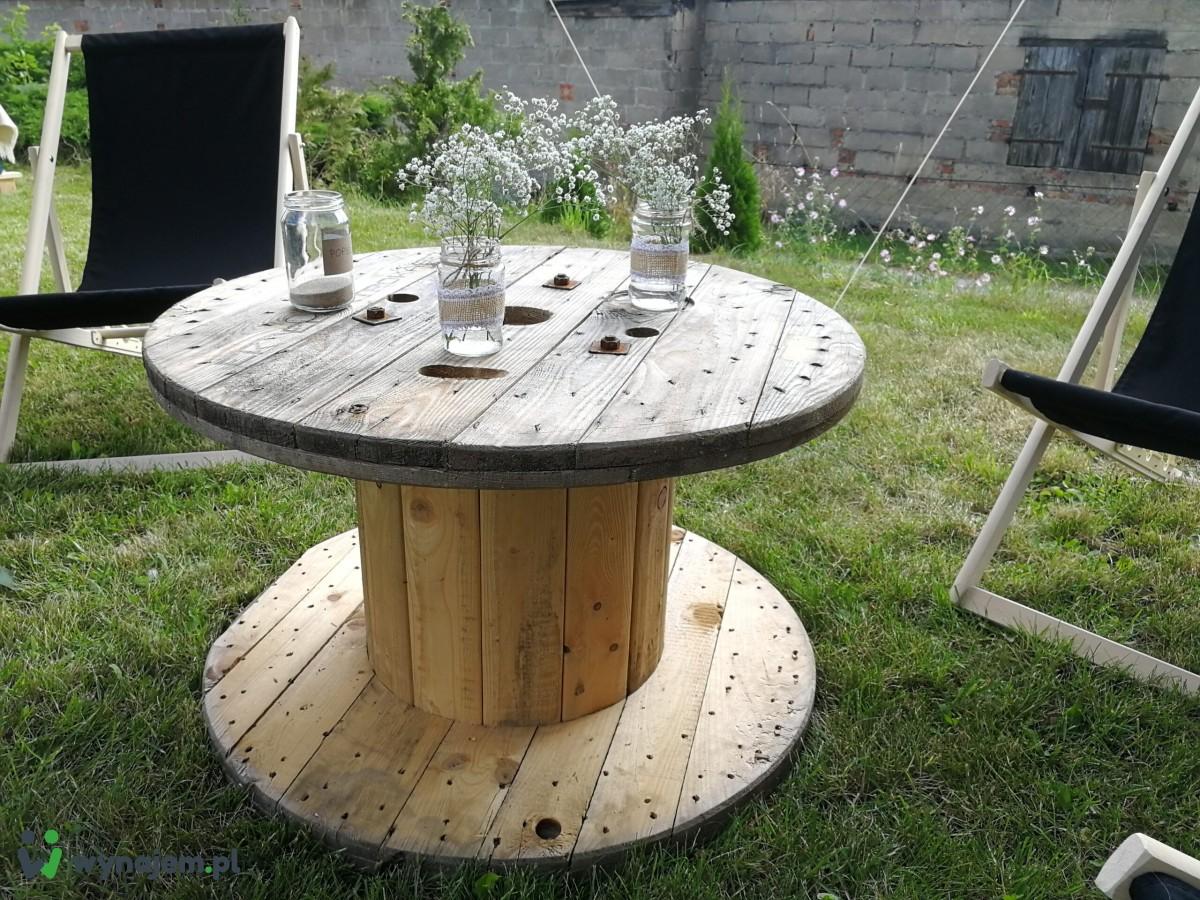 Stoliki szpule drewniane