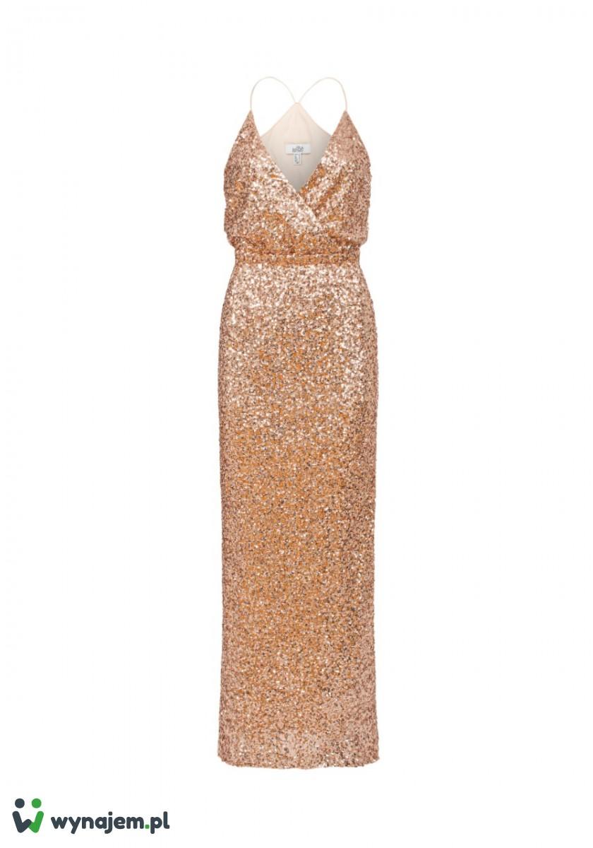 BADGLEY MISCHKA Długa, cekinowa, złota sukienka