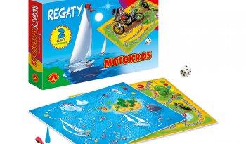 Motokros / Regaty 2 gry planszowe dla dzieci